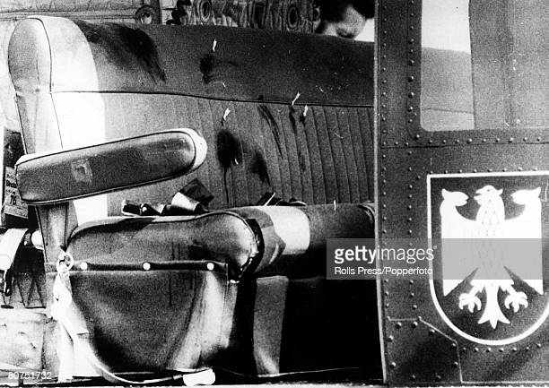 Terrorism 1972 Olympic Games in Munich Fuerstenfeldbruck Germany pic September 1972 The bloodstained seats of a West German Border Police helicopter...