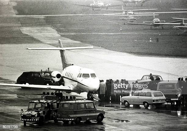 Terrorism 1972 Olympic Games in Munich pic October 1972 Police vehicles and security men surround a plane at Munich as three Arab guerillas held in...