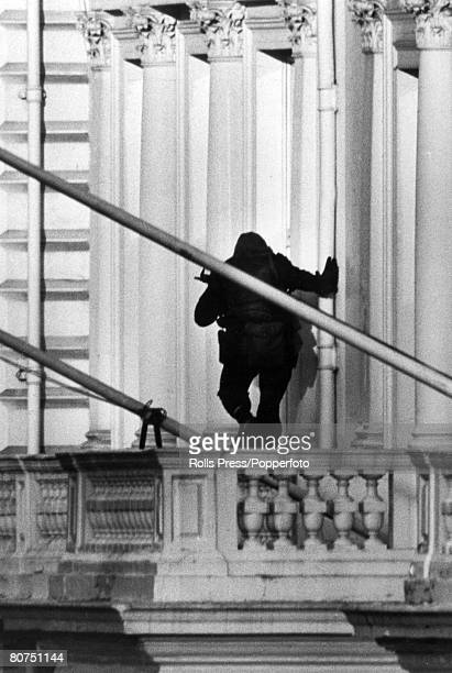 Terrorism Iranian Embassy Siege London pic 5th May 1980 A specially trained Army Commando well armed and about to enter the Iranian Embassy via the...