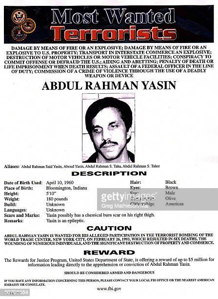 Terrorist Abdul Rahman Yasin pictured on FBI Most Wanted