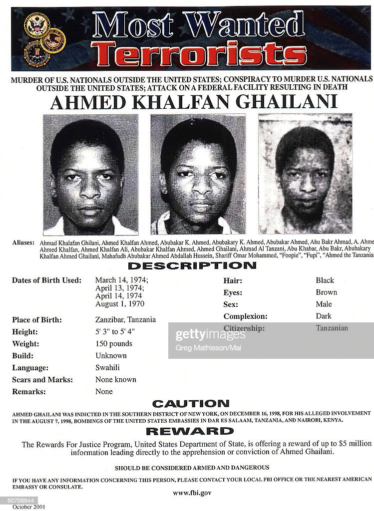 Terrorist Ahmed Khalfan Ghailani pictured on FBI Most Wanted
