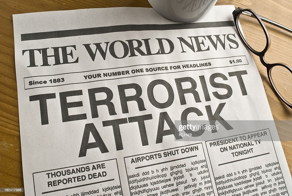 Terrorist Attack Headline : Stock Photo
