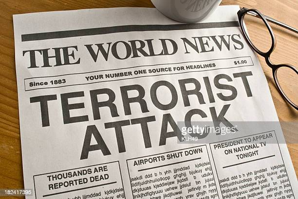 terrorist attack headline - terrorism stock pictures, royalty-free photos & images