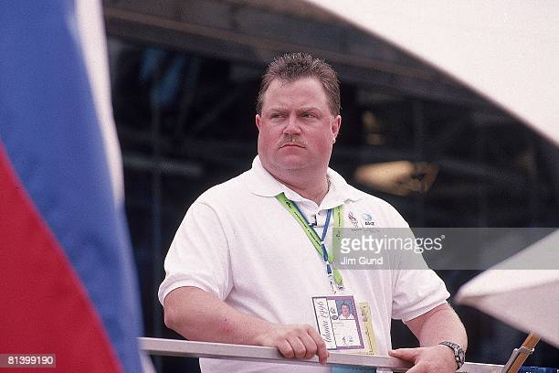 Terrorist Bombing 1996 Summer Olympics Closeup of security guard Richard Jewell during reopening of Centennial Olympic Park after bomb explosion...