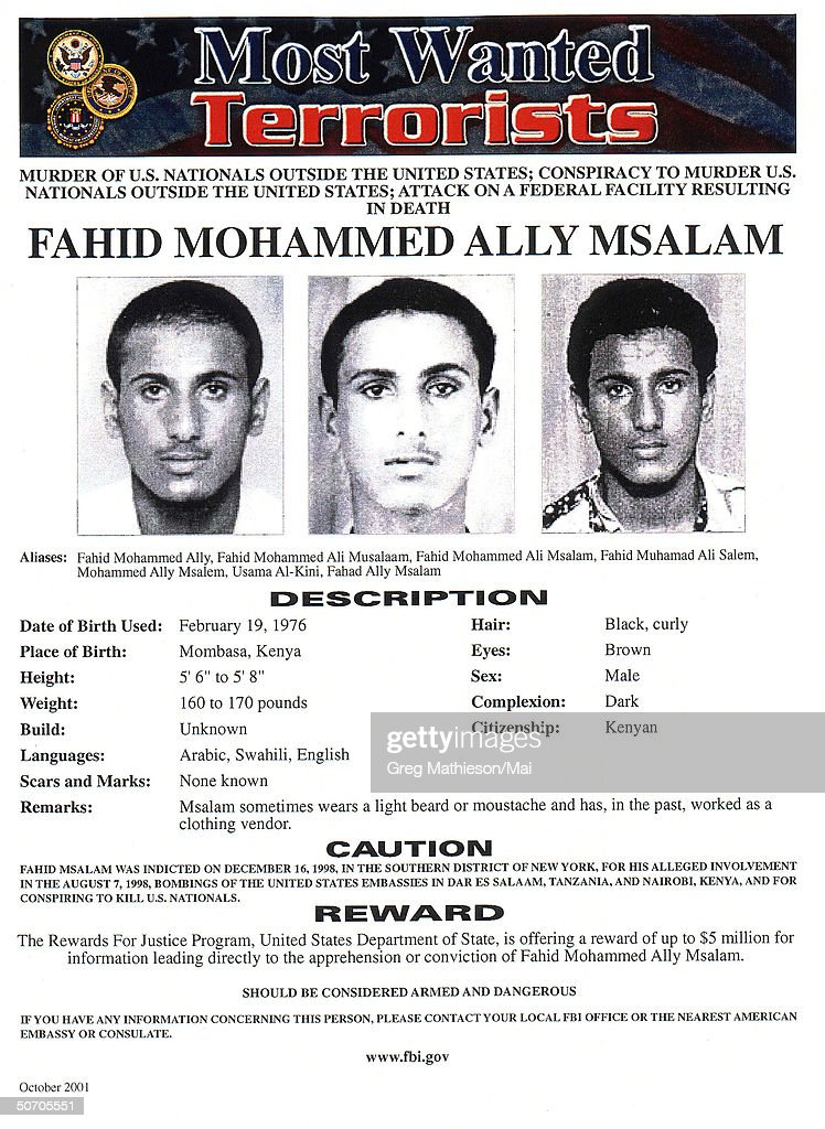 Terrorist Fahid Mohammed Ally Msalam pictured on FBI Most