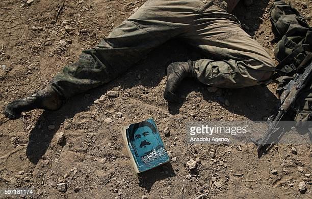 PKK terrorist organization's documents seen in Jarabulus District of Aleppo Syria after Turkish war crafts carried out an airstrikes on PYD / PKK...