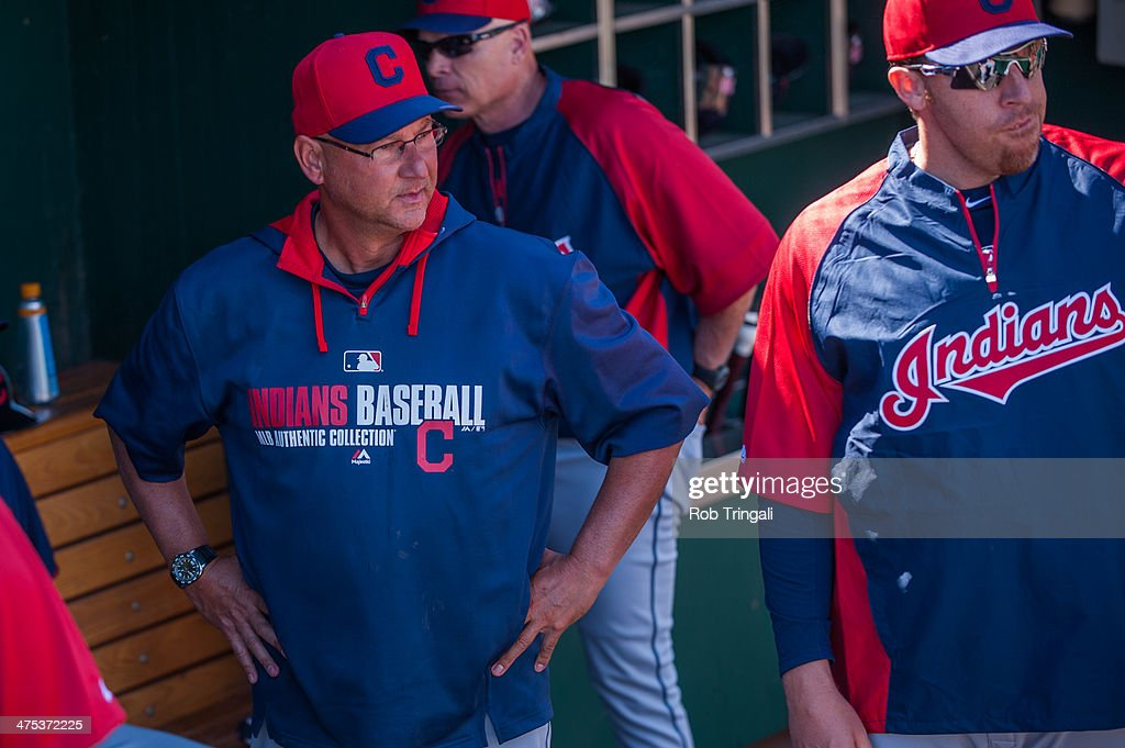 Terrry Francona manager of the against the Cleveland Indians looks on before the game against the Cincinnati Reds at Goodyear Ballpark on February 27, 2014 in Goodyear, Arizona.