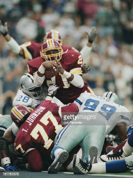 Terry Allen Running Back for the Washington Redskins scores a touchdown during the National Football Conference East game against the Dallas Cowboys...