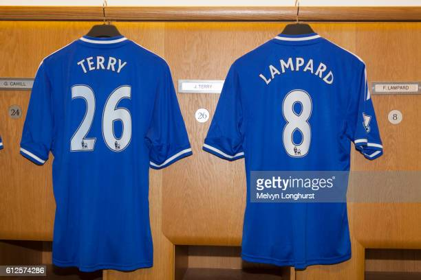 Terry and Lampard shirts beside lockers in home team changing room, Chelsea Football Club, Stamford
