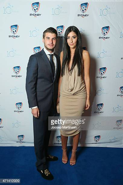 Terry Antonis and Cristina Carreno pose during the Sydney FC Sky Blue Ball at Doltone House on April 28 2015 in Sydney Australia