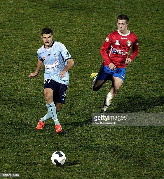 Terry Antonis completes a pass during the preseason match between Sydney FC and Bonnyrigg at Leichhardt Oval on August 6 2014 in Sydney Australia