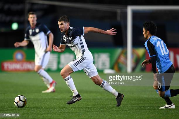 Terry Antonis of Melbourne Victory in action during the AFC Champions League Group F match between Kawasaki Frontale and Melbourne Victory at...