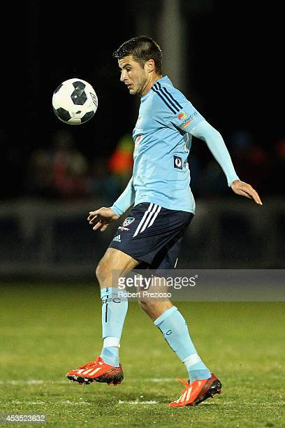 Terry Antonis of Sydney controls the ball during the FFA Cup match between Melbourne City and Sydney FC at Morshead Park Stadium on August 12 2014 in...