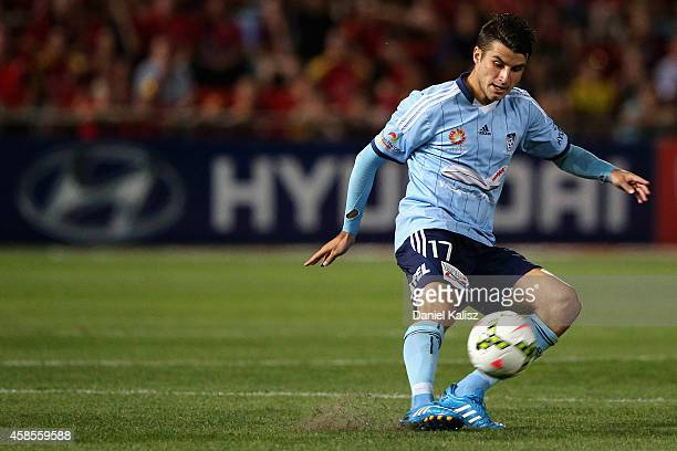 Terry Antonis of Sydney controls the ball during the round five ALeague match between Adelaide United and Sydney FC at Coopers Stadium on November 7...