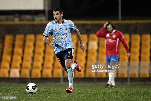 Terry Antonis of Sydney FC controls the ball during the preseason match between Sydney FC and Bonnyrigg at Leichhardt Oval on August 6 2014 in Sydney...