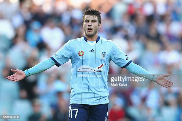 Terry Antonis of Sydney FC reacts after a missed shot on goal during the round four ALeague match between Sydney FC and the Central Coast Mariners at...