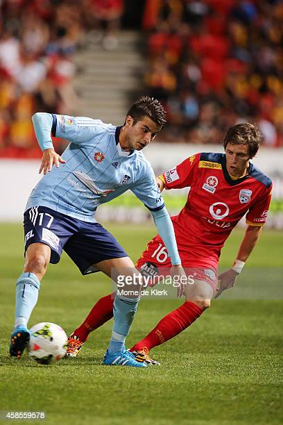 Terry Antonis of Sydney FC wins the ball during the round five ALeague match between Adelaide United and Sydney FC at Coopers Stadium on November 7...