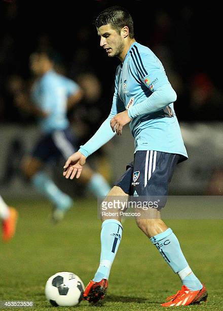 Terry Antonis of Sydney passes the ball during the FFA Cup match between Melbourne City and Sydney FC at Morshead Park Stadium on August 12 2014 in...