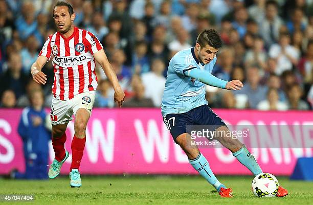 Terry Antonis of Sydney shoots for goal during the round one ALeague match between Sydney FC and Melbourne City at Allianz Stadium on October 11 2014...