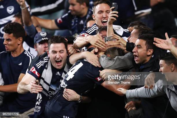 Terry Antonis of the Victory celebrates with fans after scoring the winning goal during the ALeague Semi Final match between Sydney FC and Melbourne...
