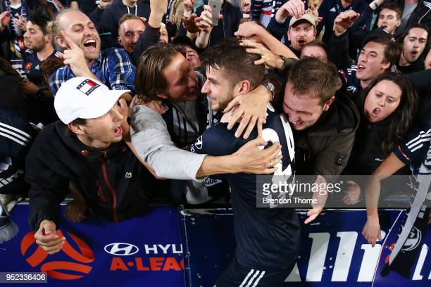 Terry Antonis of the Victory celebrates with fans after scoring the winning goal during the A-League Semi Final match between Sydney FC and Melbourne...