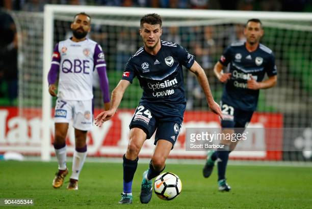 Terry Antonis of the Victory controls the ball during the round 16 ALeague match between the Melbourne Victory and Perth Glory at AAMI Park on...