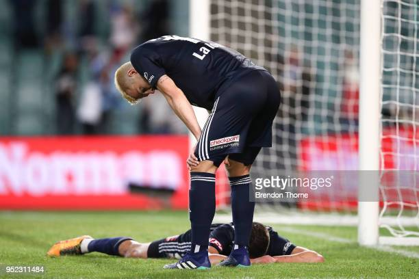 Terry Antonis of the Victory lays on the ground after scoring an own goal during the ALeague Semi Final match between Sydney FC and Melbourne Victory...