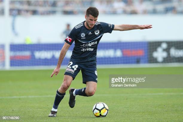 Terry Antonis of the Victory passes during the round 14 ALeague match between the Melbourne Victory and the Central Coast Mariners at GMHBA Stadium...