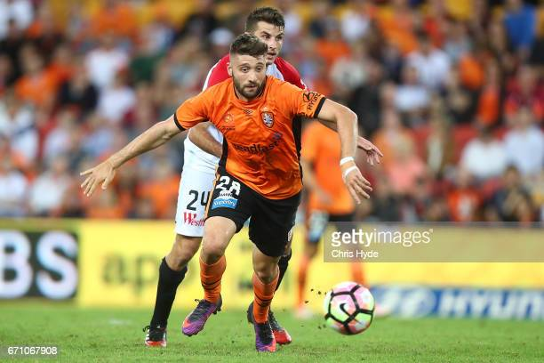 Terry Antonis of the Wanderers and Brandon Borello of the Roar compete for the ball during the ALeague Elimination Final match between the Brisbane...