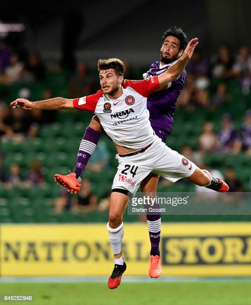 Terry Antonis of the Wanderers and Rhys Williams of the Glory clash during the round 21 ALeague match between the Perth Glory and Western Sydney...