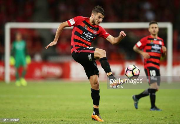 Terry Antonis of the Wanderers controls the ball during the round 24 ALeague match between the Western Sydney Wanderers and Melbourne City FC at...