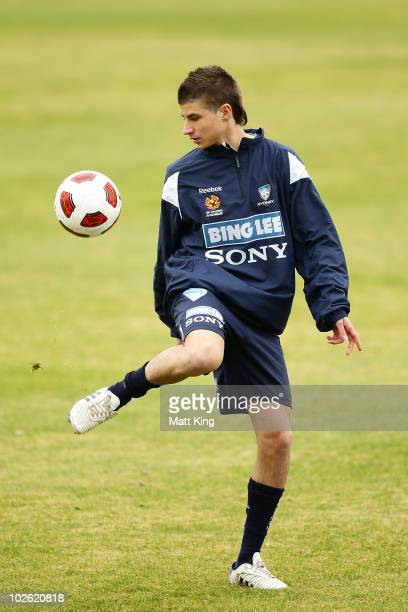 Terry Antonis warms up during a Sydney FC ALeague training session at Macquarie University on July 5 2010 in Sydney Australia