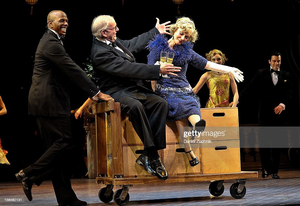 Terry Beaver (C) and Blythe Danner (R) attend the 'Nice Work If You Can Get It' Broadway curtain call at Imperial Theatre on December 19, 2012 in New York City.