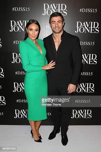 Terry Biviano and Anthony Minichiello arrive ahead of the David Jones Spring/Summer 2015 Fashion Launch at David Jones Elizabeth Street Store on...