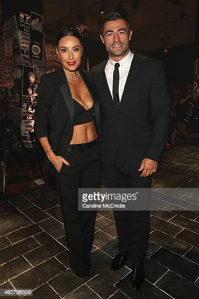 Terry Biviano and Anthony Minichiello pose after the David Jones Autumn/Winter 2015 Collection Launch at David Jones Elizabeth Street Store on...