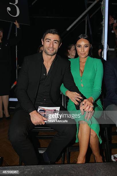 Terry Biviano and Anthony Minichiello sit front row for theDavid Jones Spring/Summer 2015 Fashion Launch at David Jones Elizabeth Street Store on...