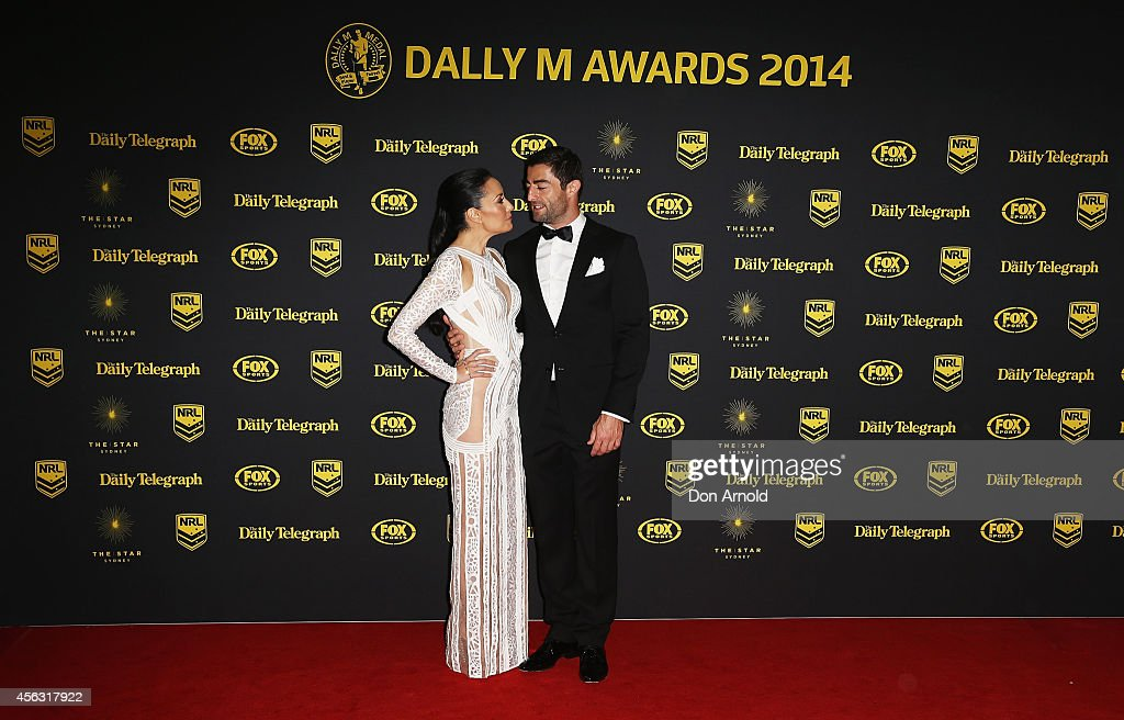 Terri Biviano and Anthony Minnichello arrive at the Dally M Awards at Star City on September 29, 2014 in Sydney, Australia.
