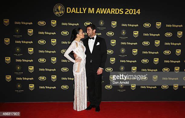 Terri Biviano and Anthony Minnichello arrive at the Dally M Awards at Star City on September 29 2014 in Sydney Australia