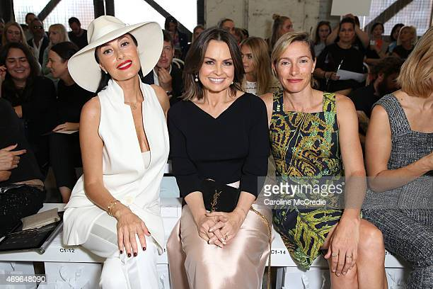 Terry Biviano Lisa Wilkinson and Claudia Karvan attend the Maticevski show at MercedesBenz Fashion Week Australia 2015 at Bay 25 Carriageworks on...
