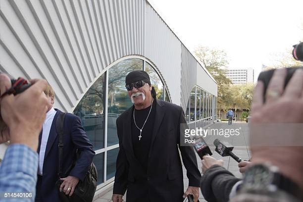 OUT Terry Bollea aka Hulk Hogan arrives in court for day two of his case against the website Gawker at the Pinellas County Courthouse Tuesday morning...