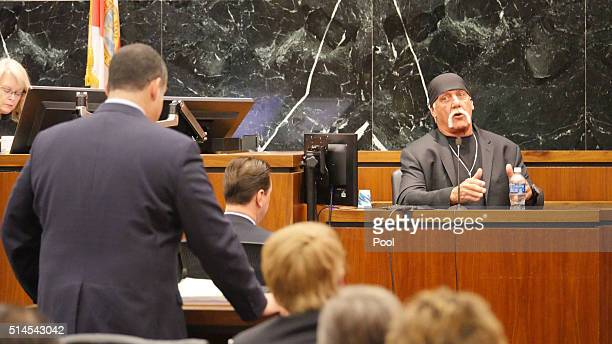 Terry Bollea aka Hulk Hogan testifies in his case against the website Gawker at the Pinellas County Courthouse March 7 2016 in St Petersburg Florida...