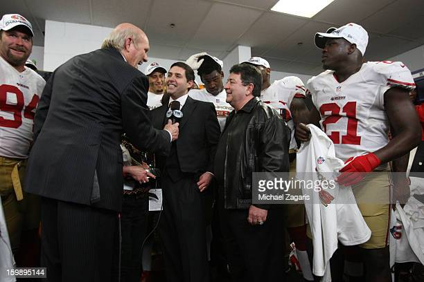 Terry Bradshaw presides over George Halas Trophy presentation with San Francisco 49ers CoChairman Denise York CEO Jed York former owner Eddie...