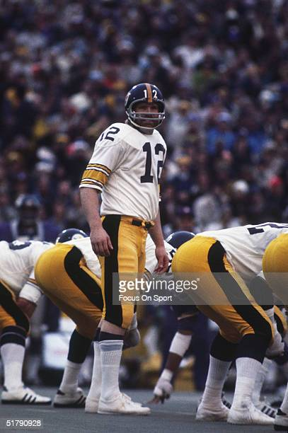 Terry Bradshaw quarterback for the Pittsburgh Steelers lines up behind the center during Super Bowl IX against the Minnesota Vikings at Tulane...