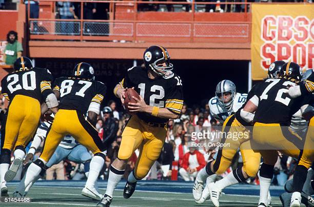 Terry Bradshaw quarterback for the Pittsburgh Steelers readies a pass during Super Bowl XIII against the Dallas Cowboys at the Orange Bowl on January...
