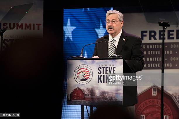 Terry Branstad governor of Iowa speaks during the Iowa Freedom Summit in Des Moines Iowa US on Saturday Jan 24 2015 The summit will focus on how to...