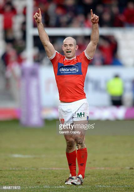 Terry Campese of Hull Kingston Rovers celebrates on the final whistle after defeating Wigan during the First Utility Super League match between Hull...