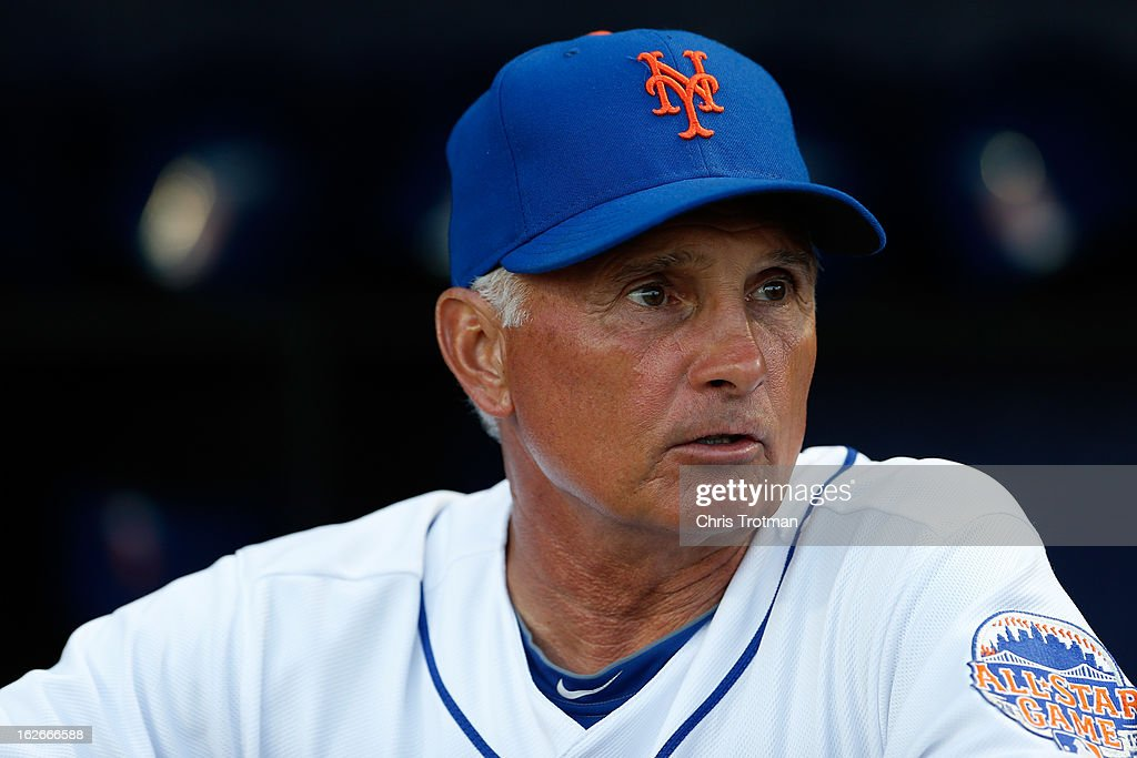 Terry Collins manager of the New York Mets looks on from the dugout against the Washington Nationals at Tradition Field on February 25, 2013 in Port St. Lucie, Florida.