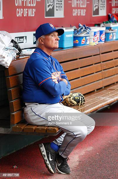 Terry Collins manager of the New York Mets reacts to his teams play against the Cincinnati Reds at Great American Ball Park on September 26 2015 in...