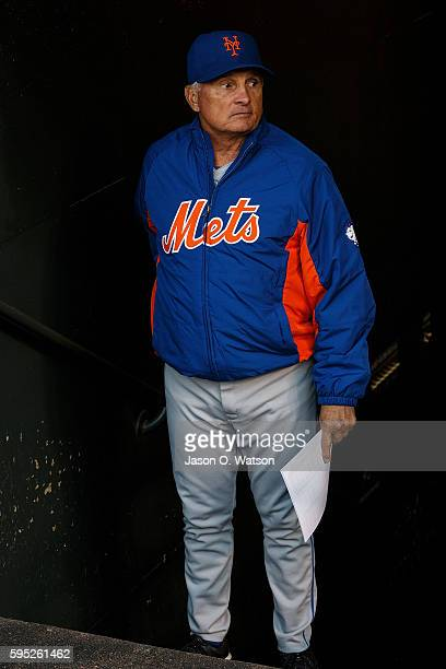 Terry Collins of the New York Mets enters the dugout before the game against the San Francisco Giants at ATT Park on August 18 2016 in San Francisco...