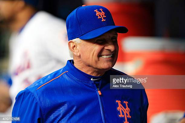 Terry Collins of the New York Mets laughs in the dugout prior to a game against the Atlanta Braves at Citi Field on April 21 2015 in the Flushing...